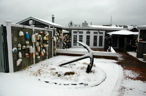 Landfall Restaurant, closed for the season, in snow.