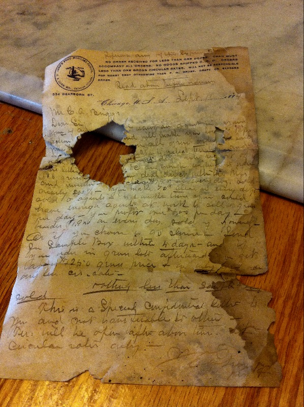 Letter from pencil company 1894.