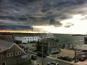 View from the Woods Hole Inn as the ferry lands on a windy December day.