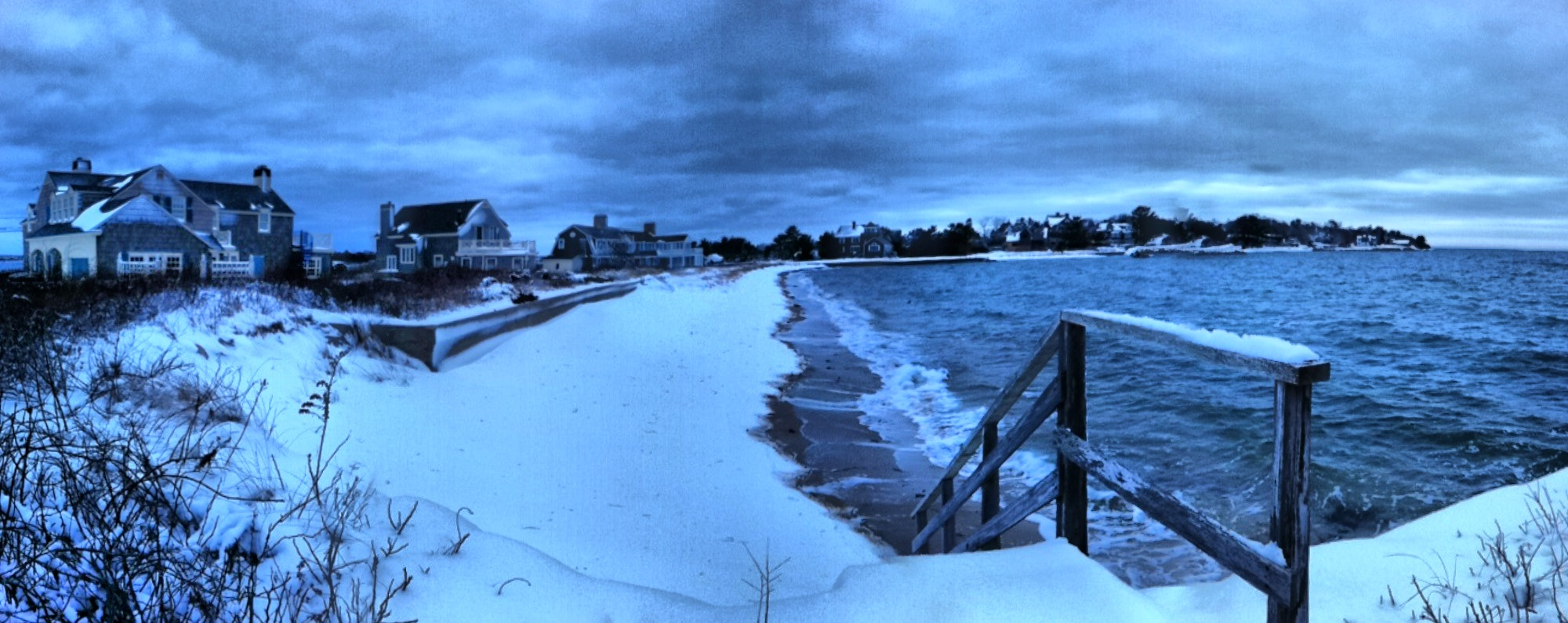 Snow on the beach near Penzance in Woods Hole MA