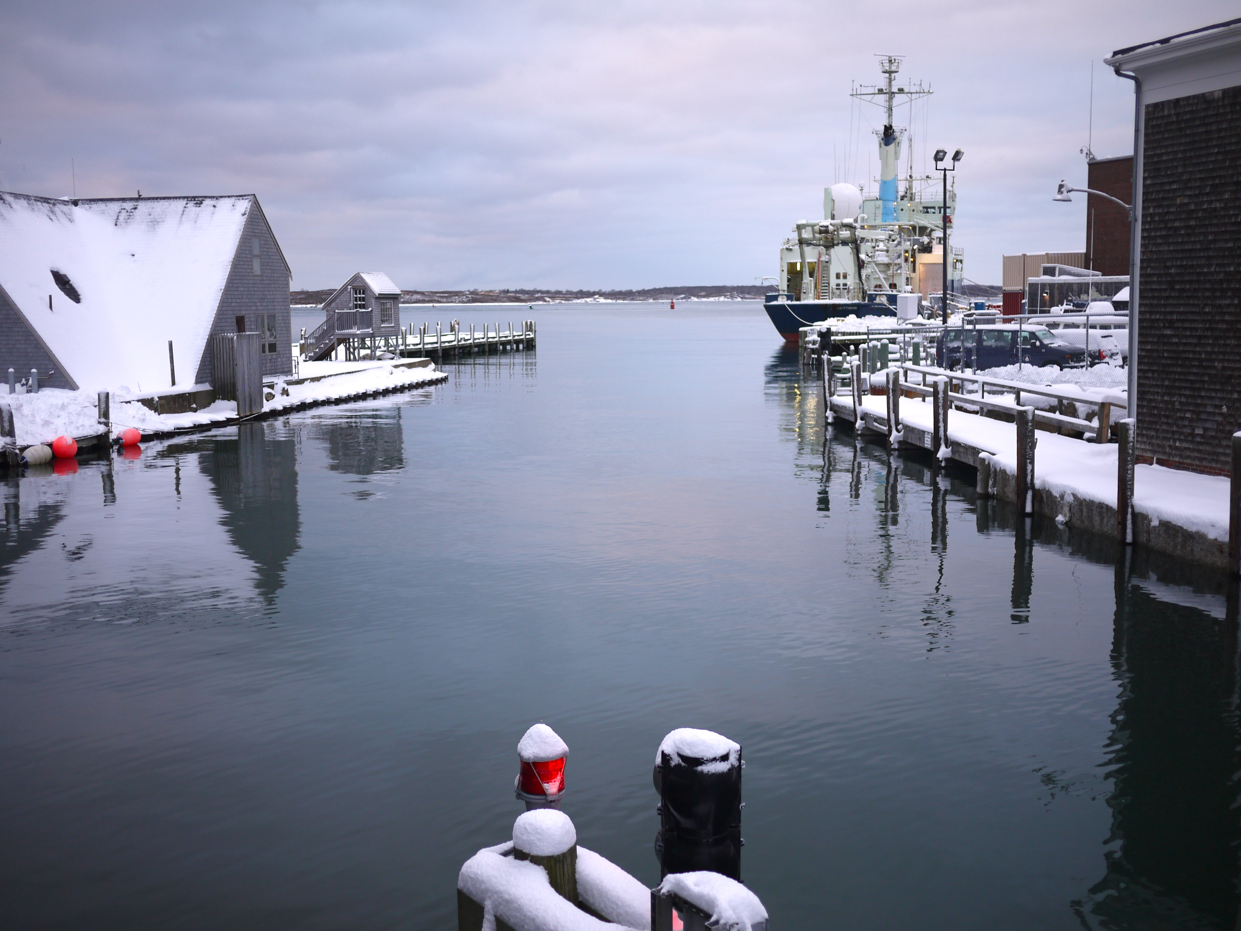 WHOI research vessel in port Woods Hole