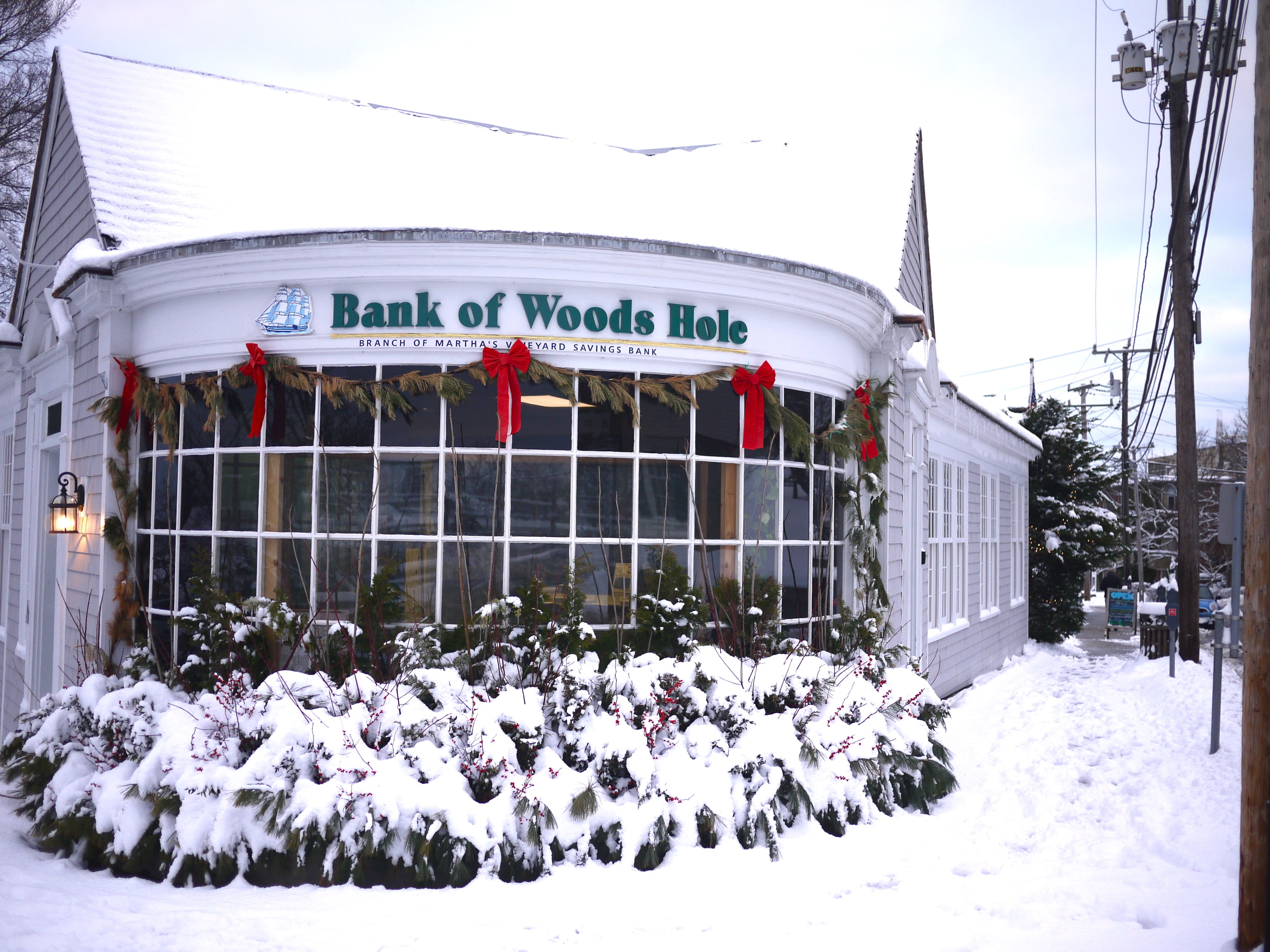 Bank of Woods Hole in snow.