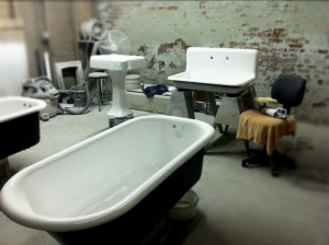 Vintage restored bathtubs headed soon to the Woods Hole Inn.