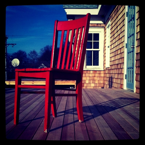 The red chair looks out over Vineyard Sound and the Martha's Vineyard ferry before heading on an epic journey to Provincetown and back!