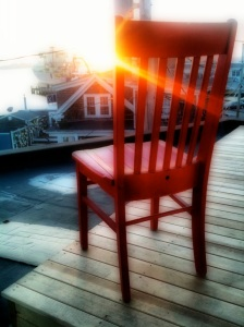 Red Chair enjoying the end of the day at the Woods Hole Inn.