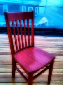Foggy day red chair in Woods Hole, looking over Coffee Obsession.