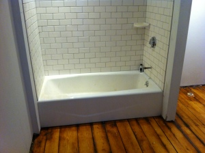 Vintage restored floors in all new bathrooms at the Woods Hole Inn, March 2012.