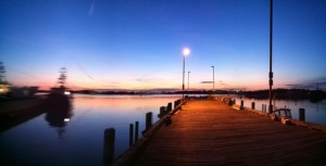 View into Great Harbor Woods Hole from the town dock, winter sunset 2012.