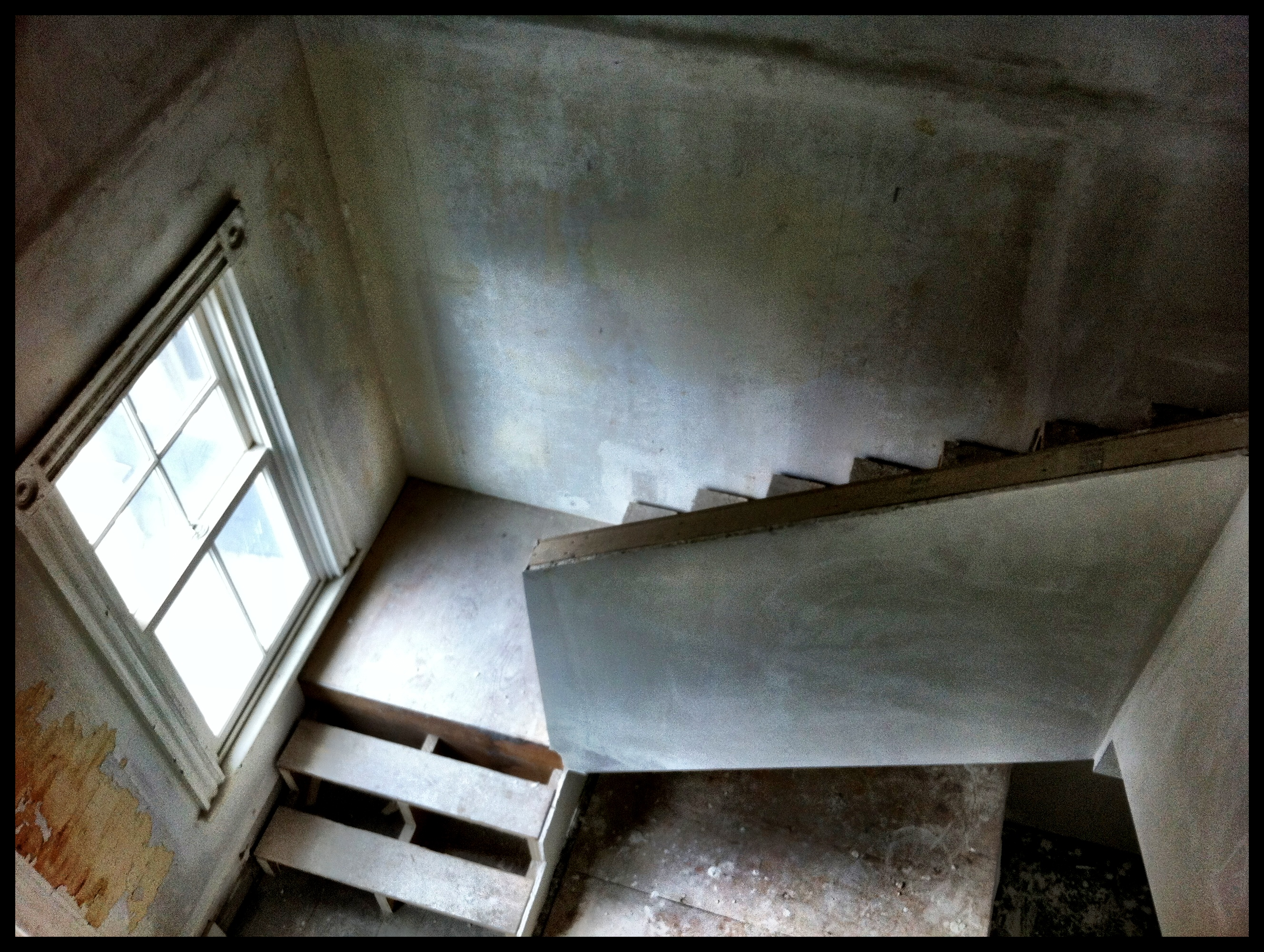 Stairs in the Woods Hole Inn, under construction winter 2012.