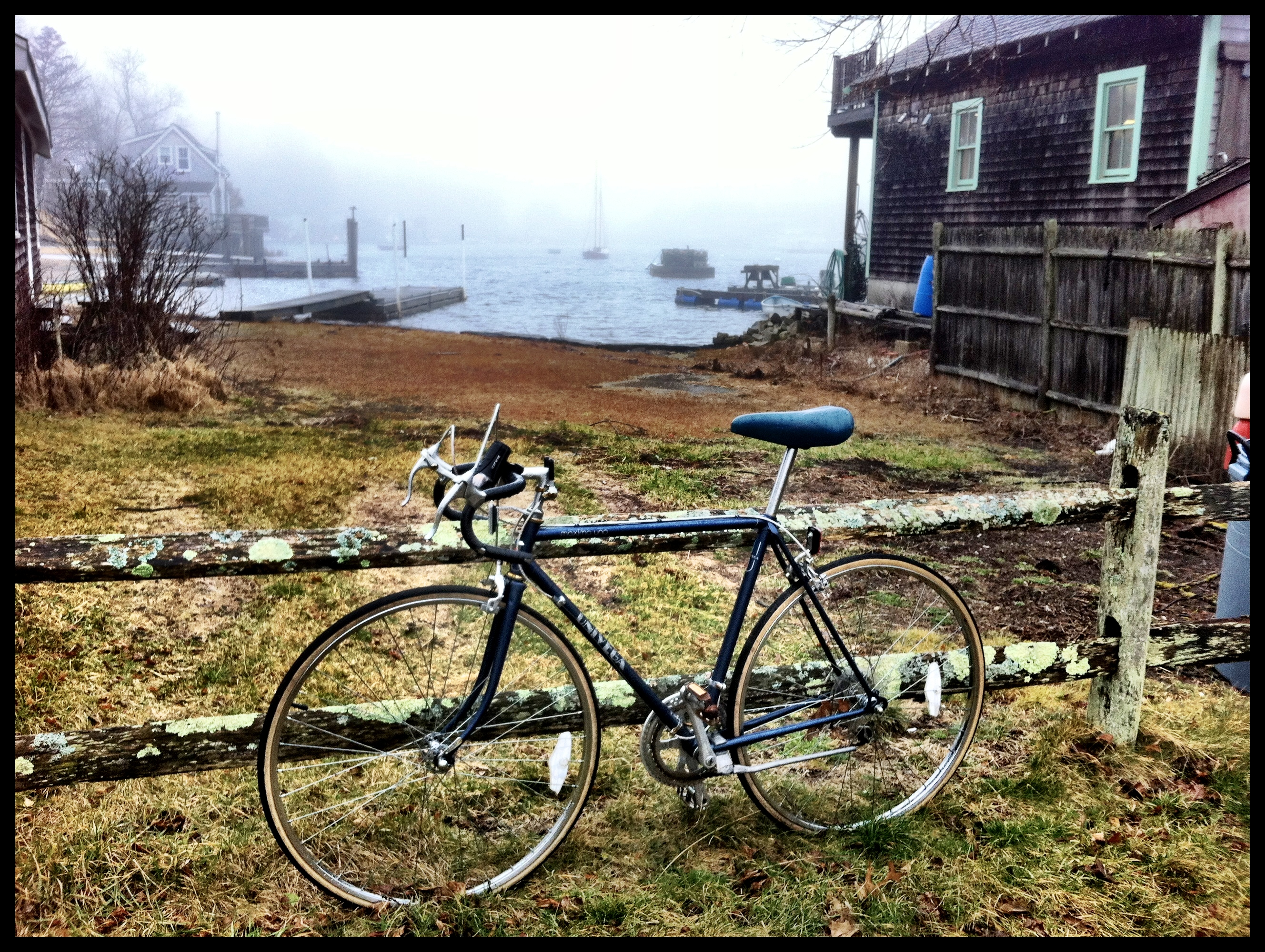 Lonely bike on the edge of the Eel Pond in Woods Hole.