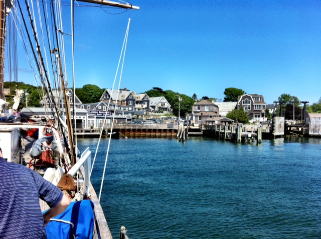 Landfall Restaurant and the rest of Woods Hole seen from the deck of the Corwith Cramer, Cape Cod summer.