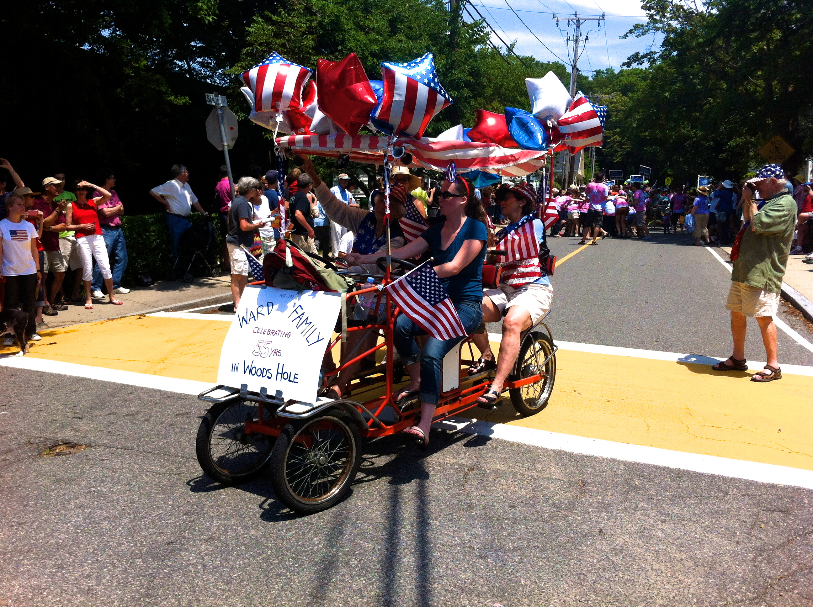 Cape Cod family at the Fourth of July parade.