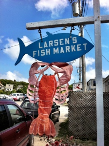 colorful fish signs in Martha's Vineyard up island