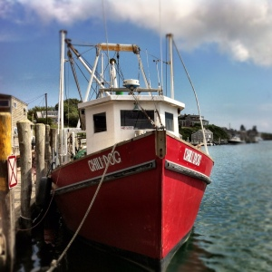Menemsha Harbor with lovely red fishing vessel